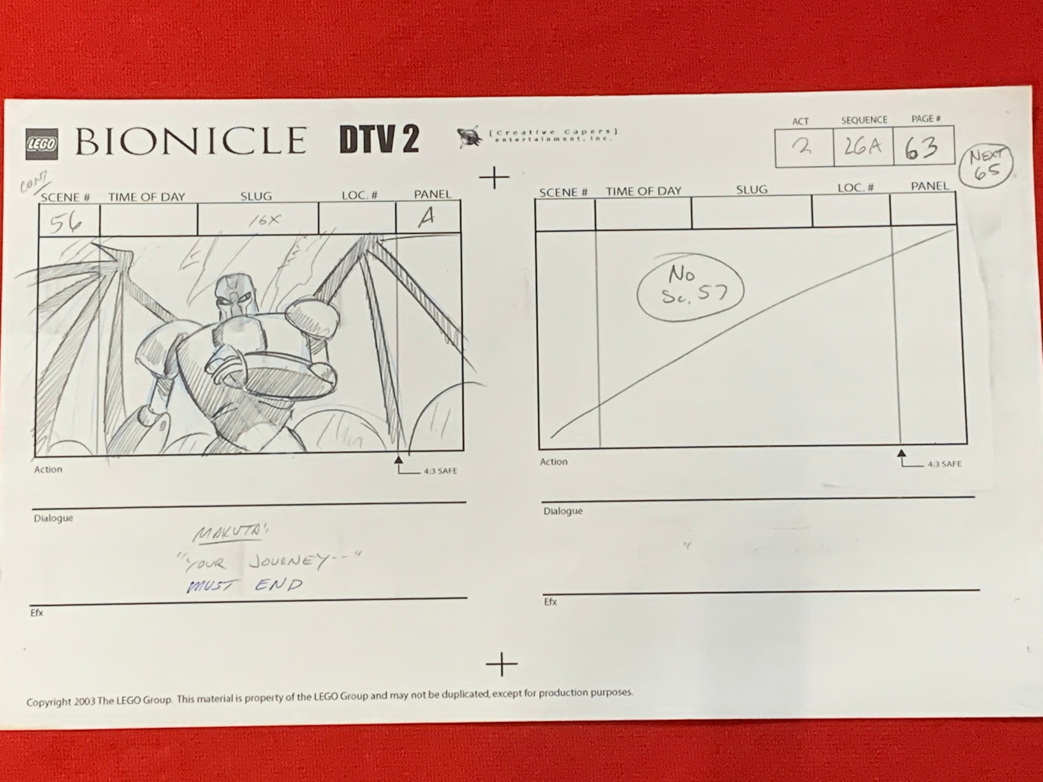 Lego Bionicle storyboard 3 EX0879 - Animation Legends