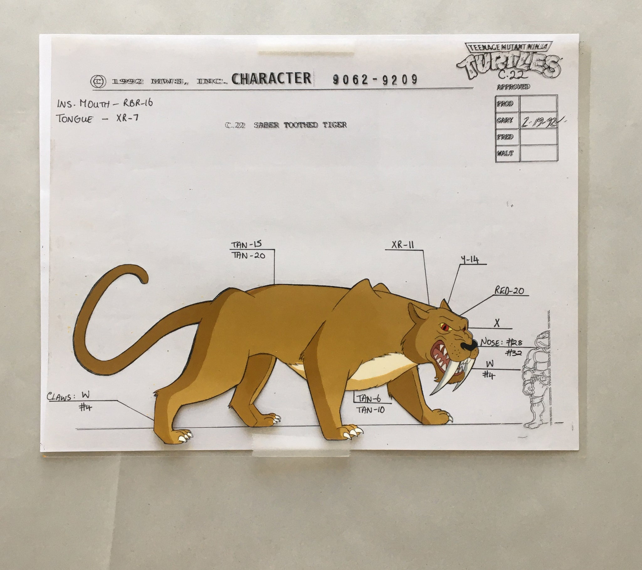 TMNT Character Sheet: Cel of Saber Tooth Tiger (EX0014) - Animation Legends