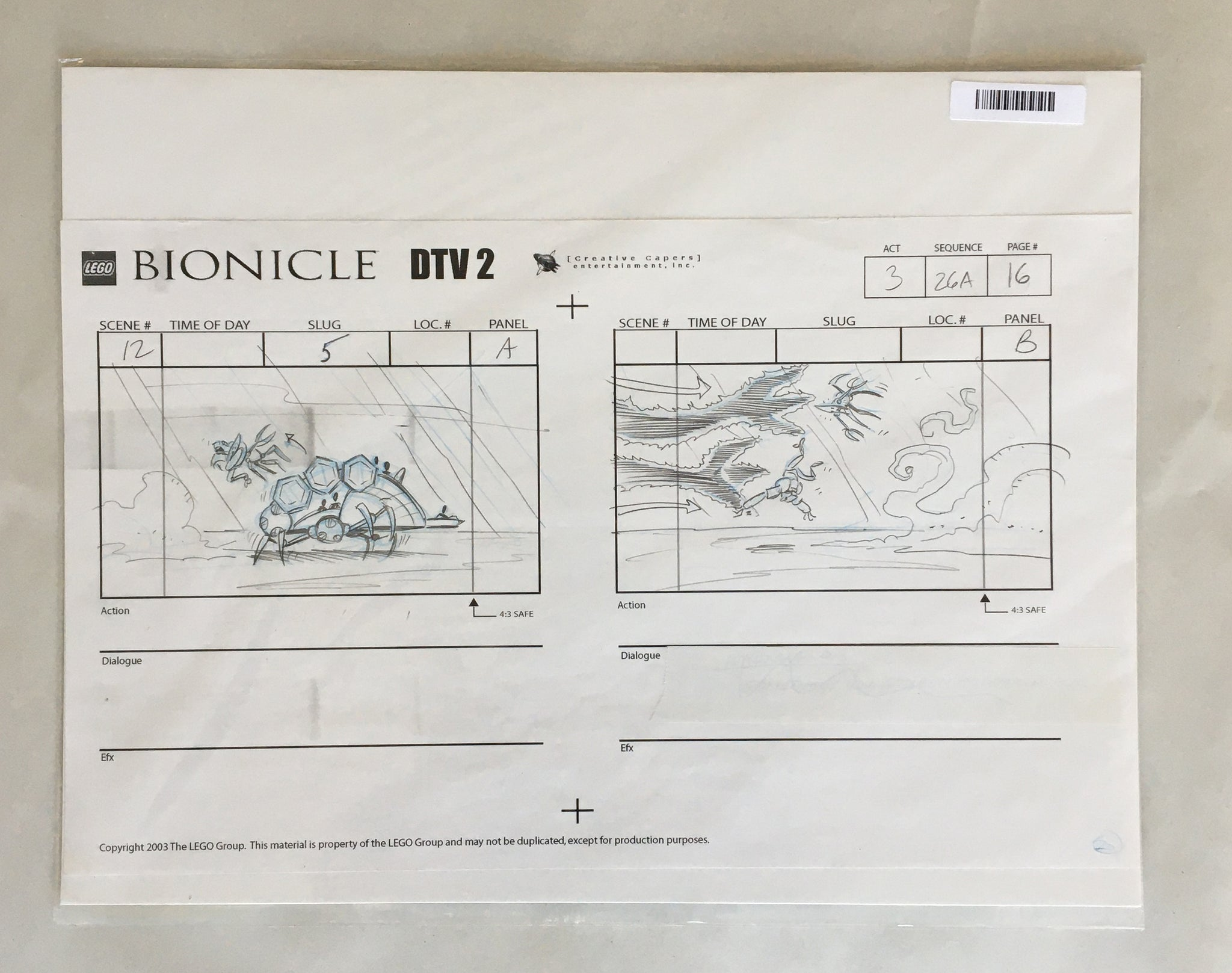 Lego Bionicle StoryBoard 8 (EX0066) - Animation Legends