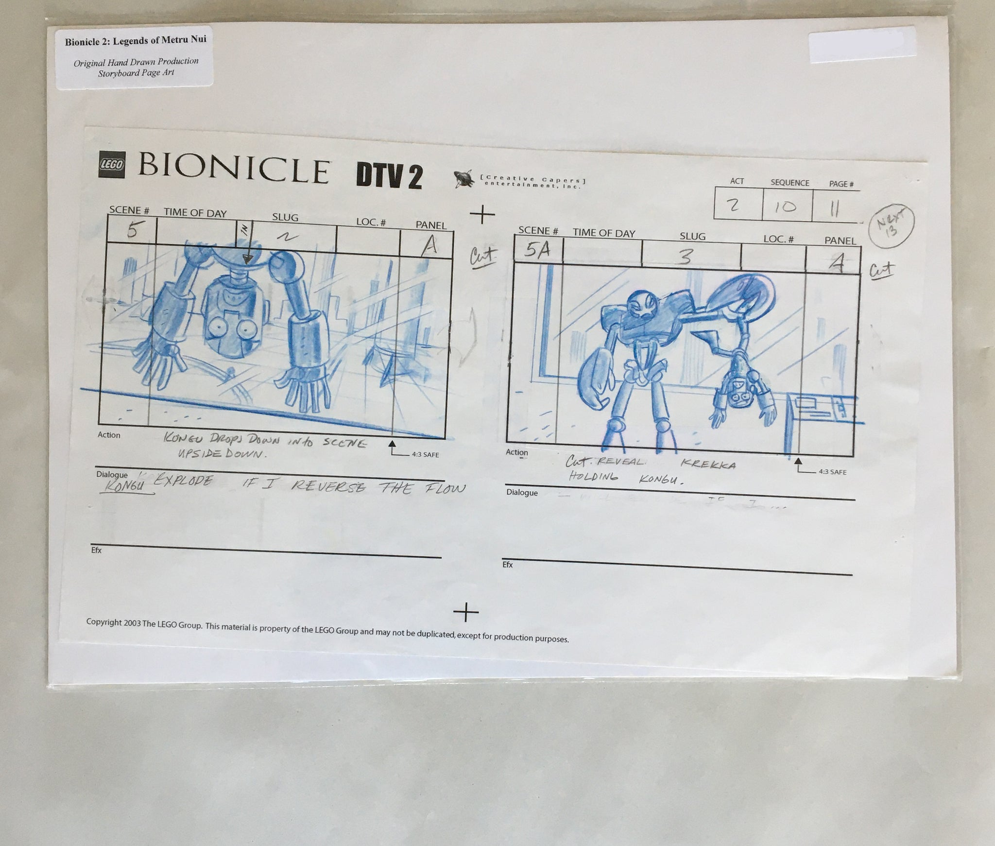 Lego Bionicle StoryBoard 6 (EX0064) - Animation Legends