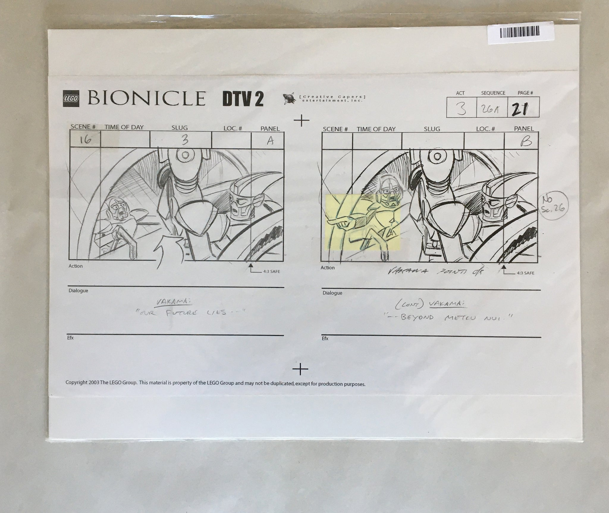 Lego Bionicle StoryBoard 5 (EX0062) - Animation Legends