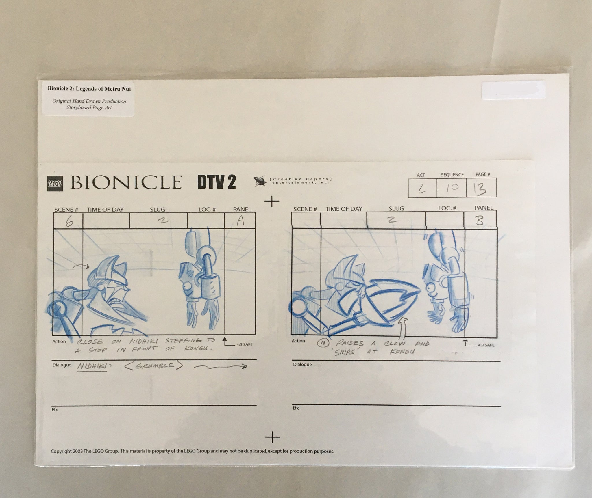 Lego Bionicle StoryBoard 4 (EX0061) - Animation Legends