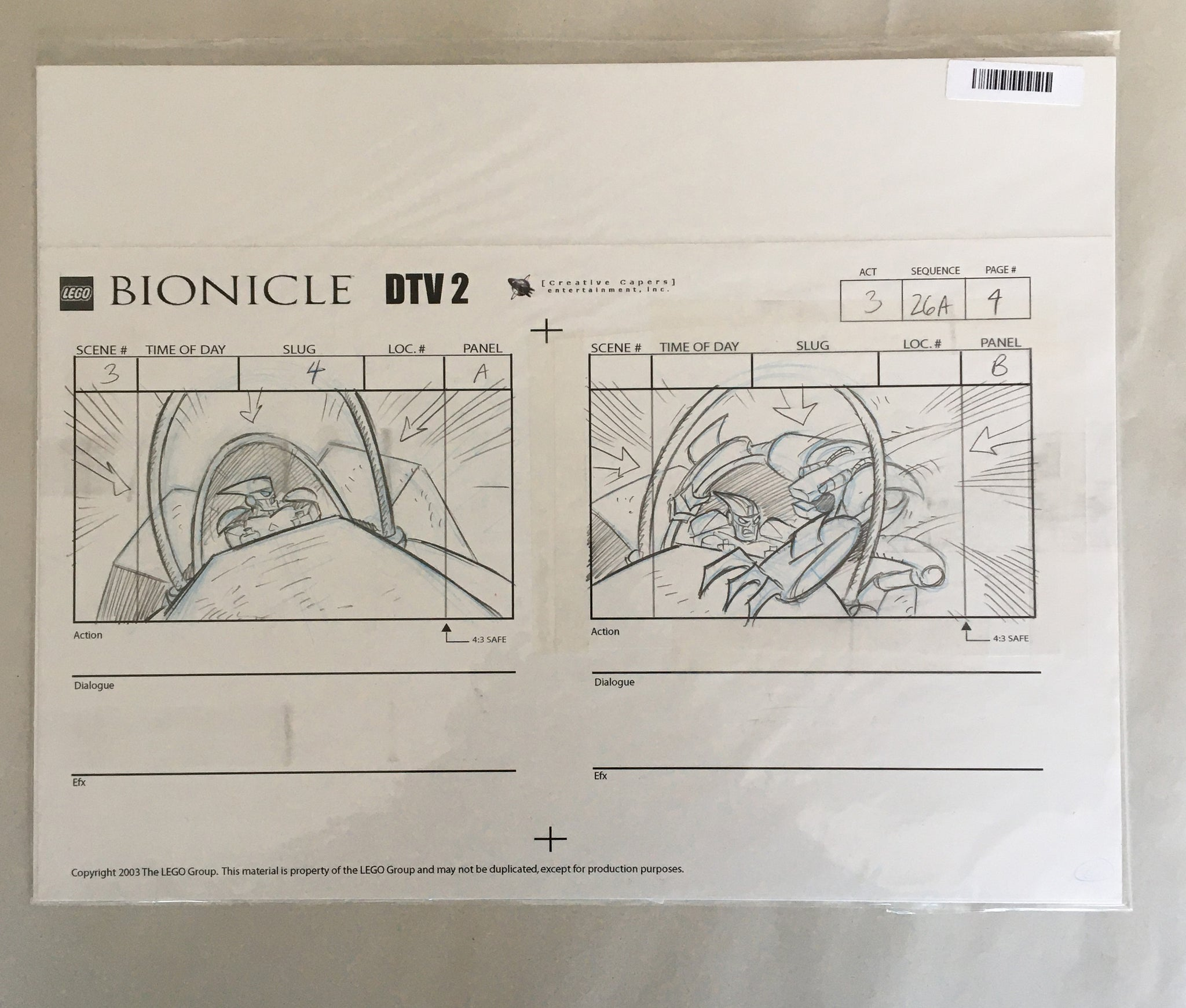 Lego Bionicle StoryBoard 3 (EX0060) - Animation Legends