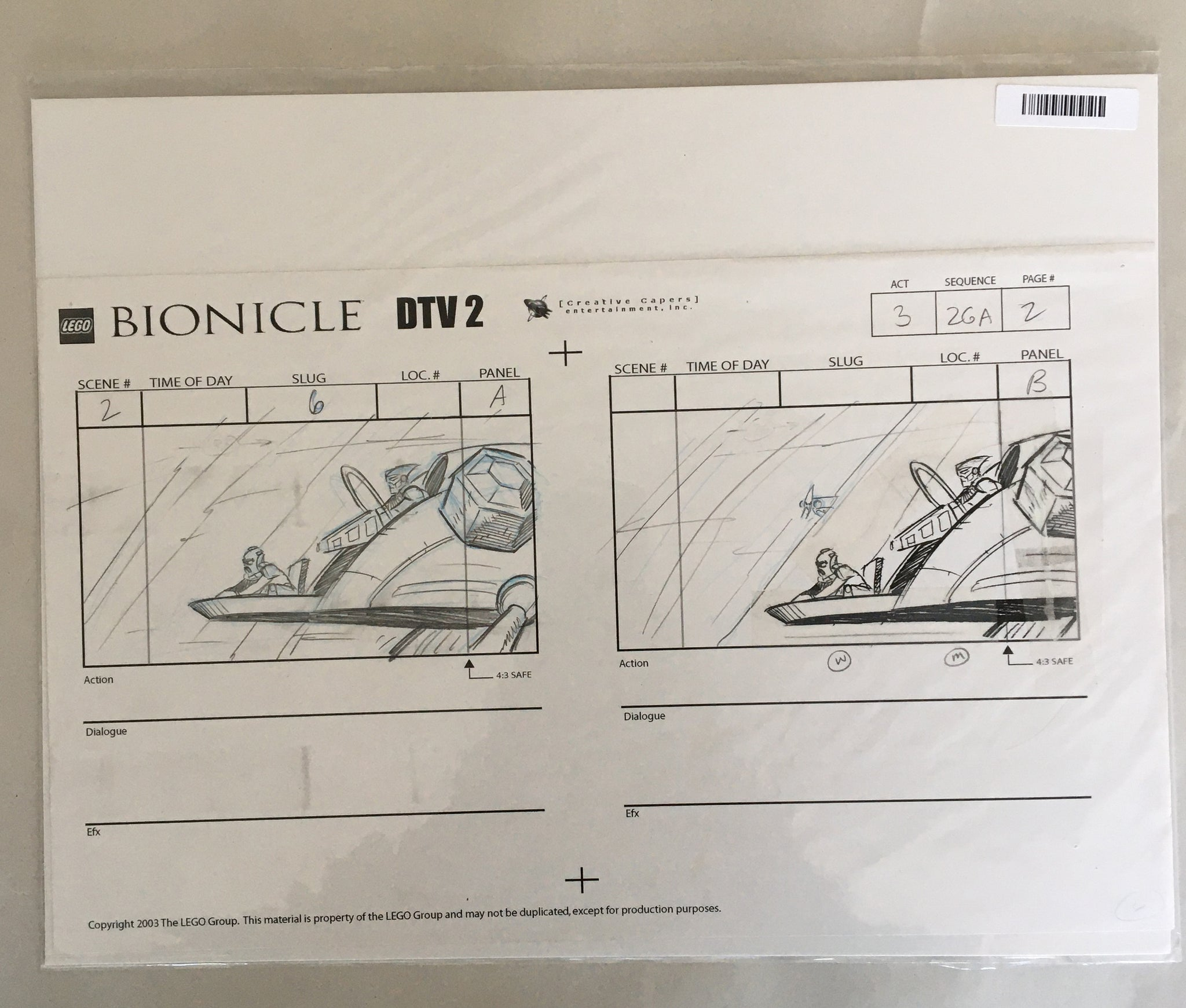 Lego Bionicle StoryBoard 2 (EX0059) - Animation Legends