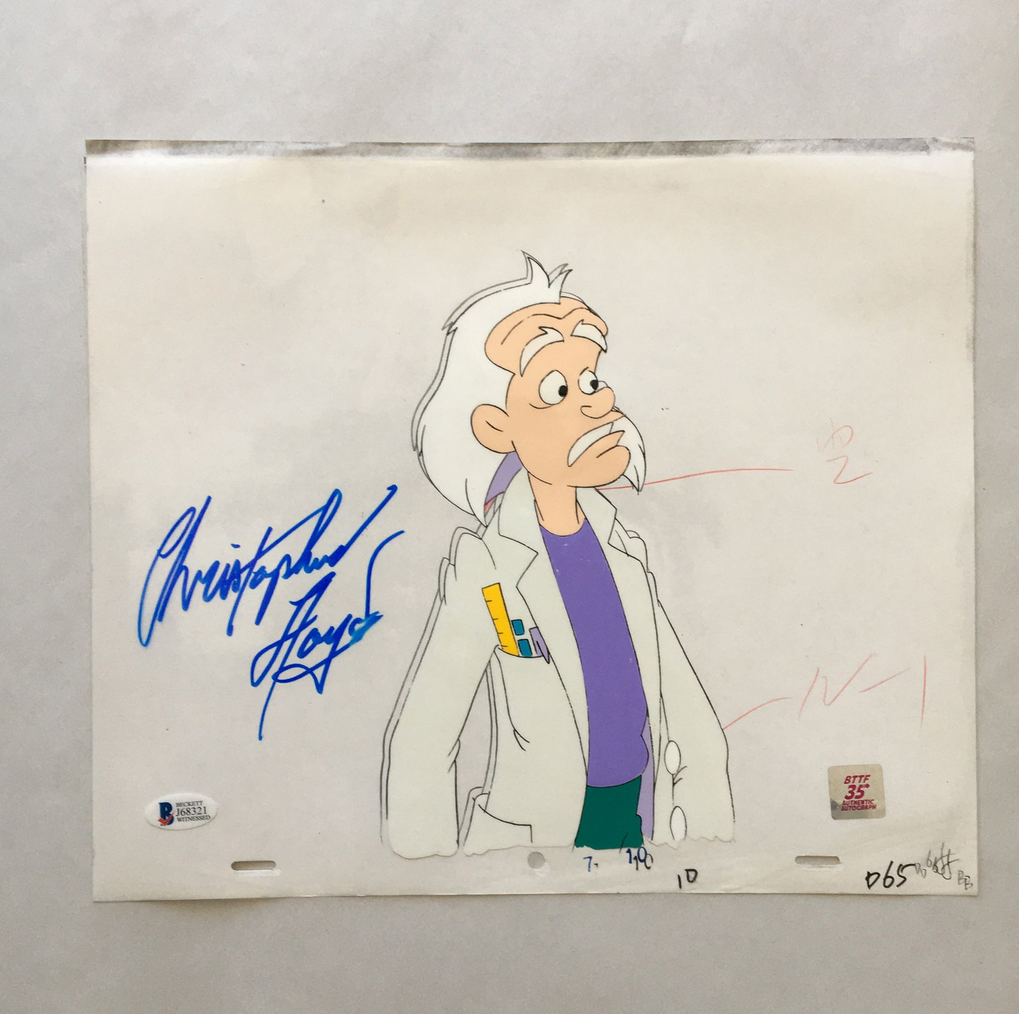 Doc Cel Signed by Christopher Lloyd 3 (EX 0146) - Animation Legends