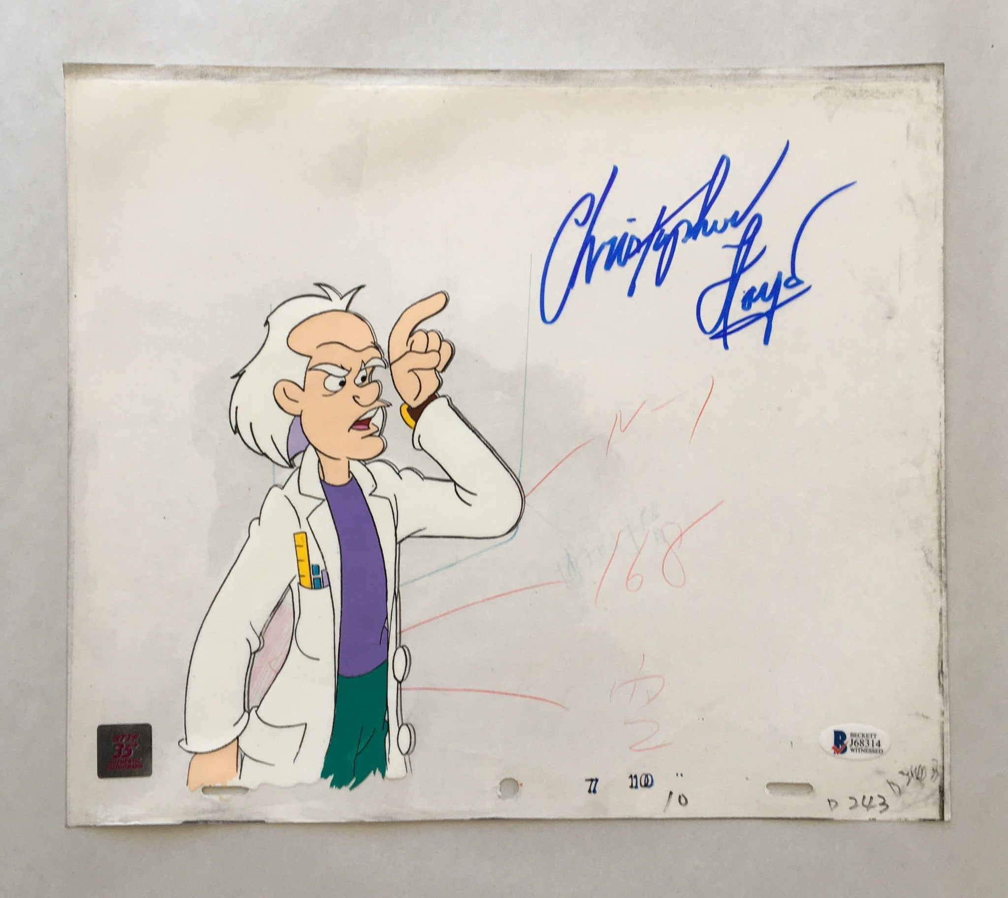 Doc Cel Signed by Christopher Lloyd 10 (EX0153) - Animation Legends