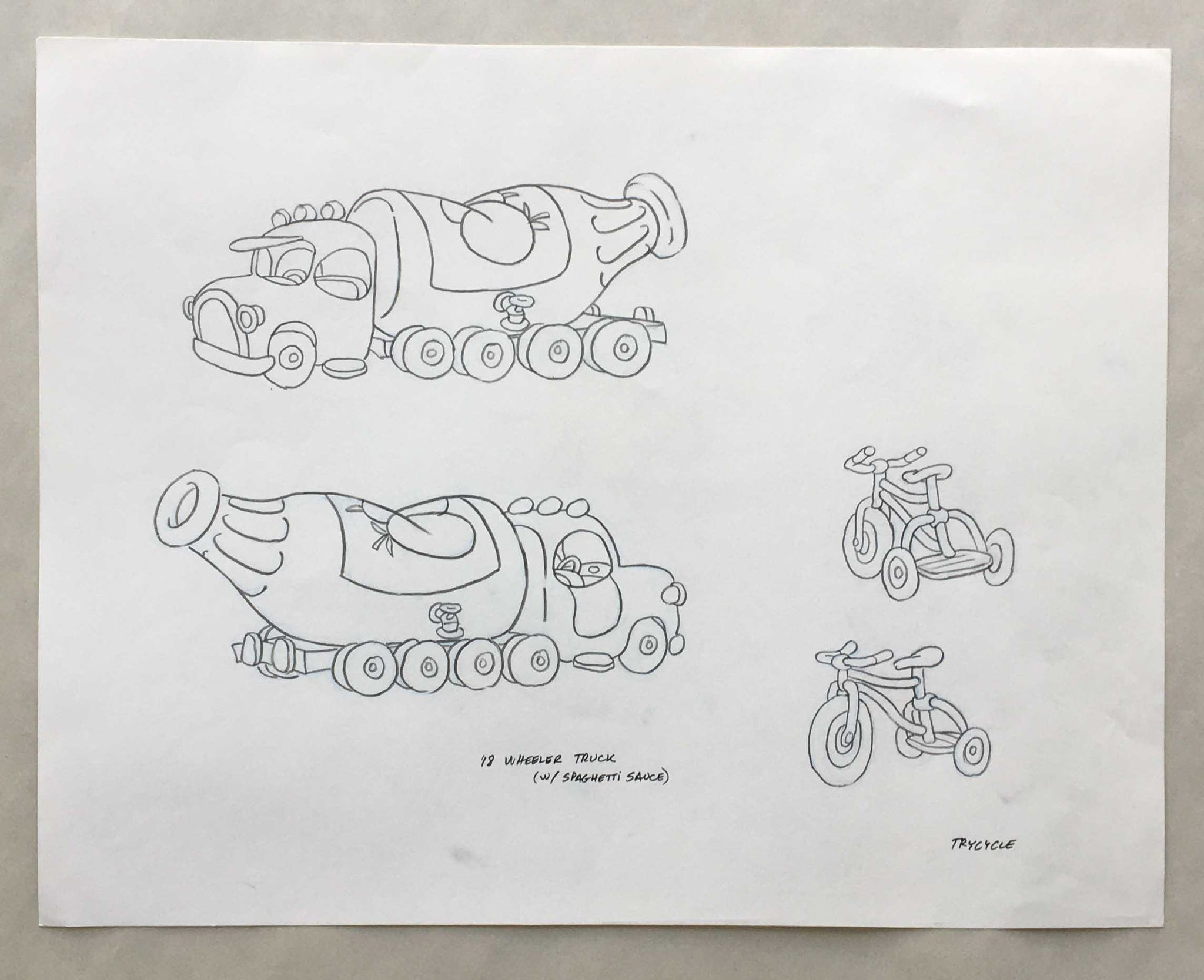 Mario Wheeler Truck and Tricycle Concept Art (EX0275) - Animation Legends