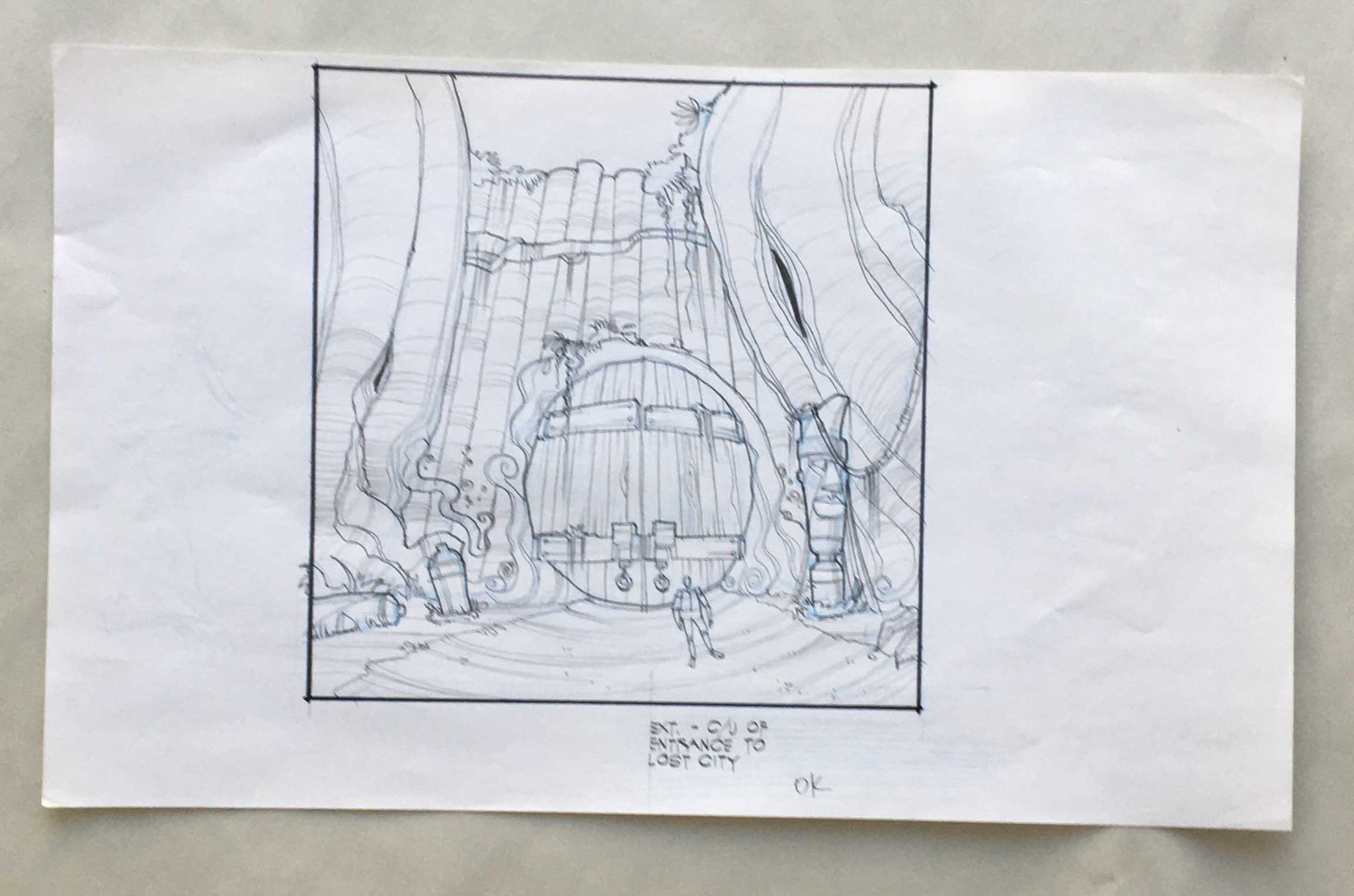 Donkey Kong Country Lost City Entrance Sketch Art (EX0259) - Animation Legends
