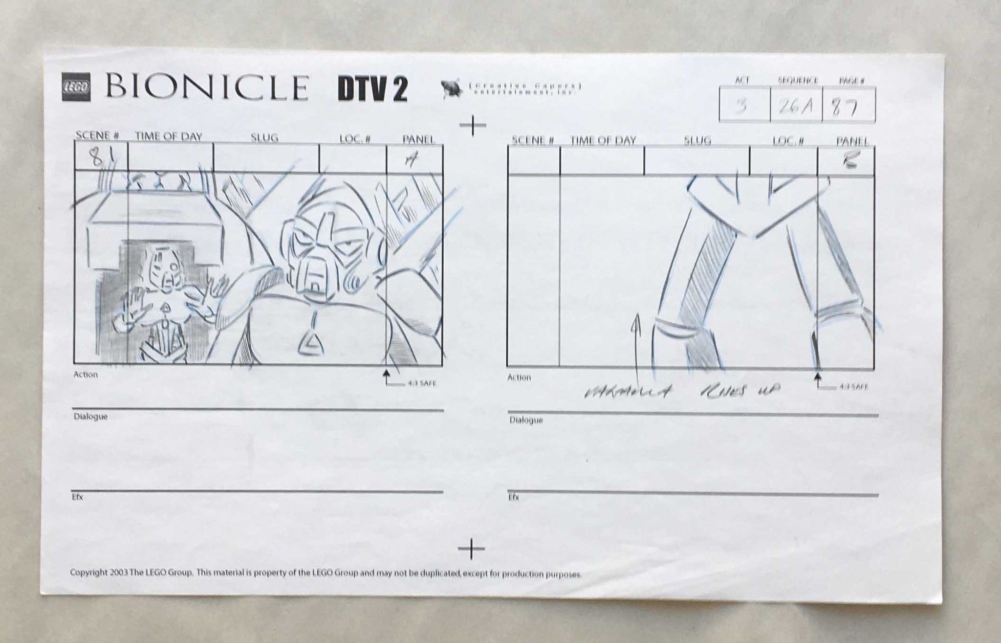 Lego Bionicle Storyboard 12 (EX0237) - Animation Legends