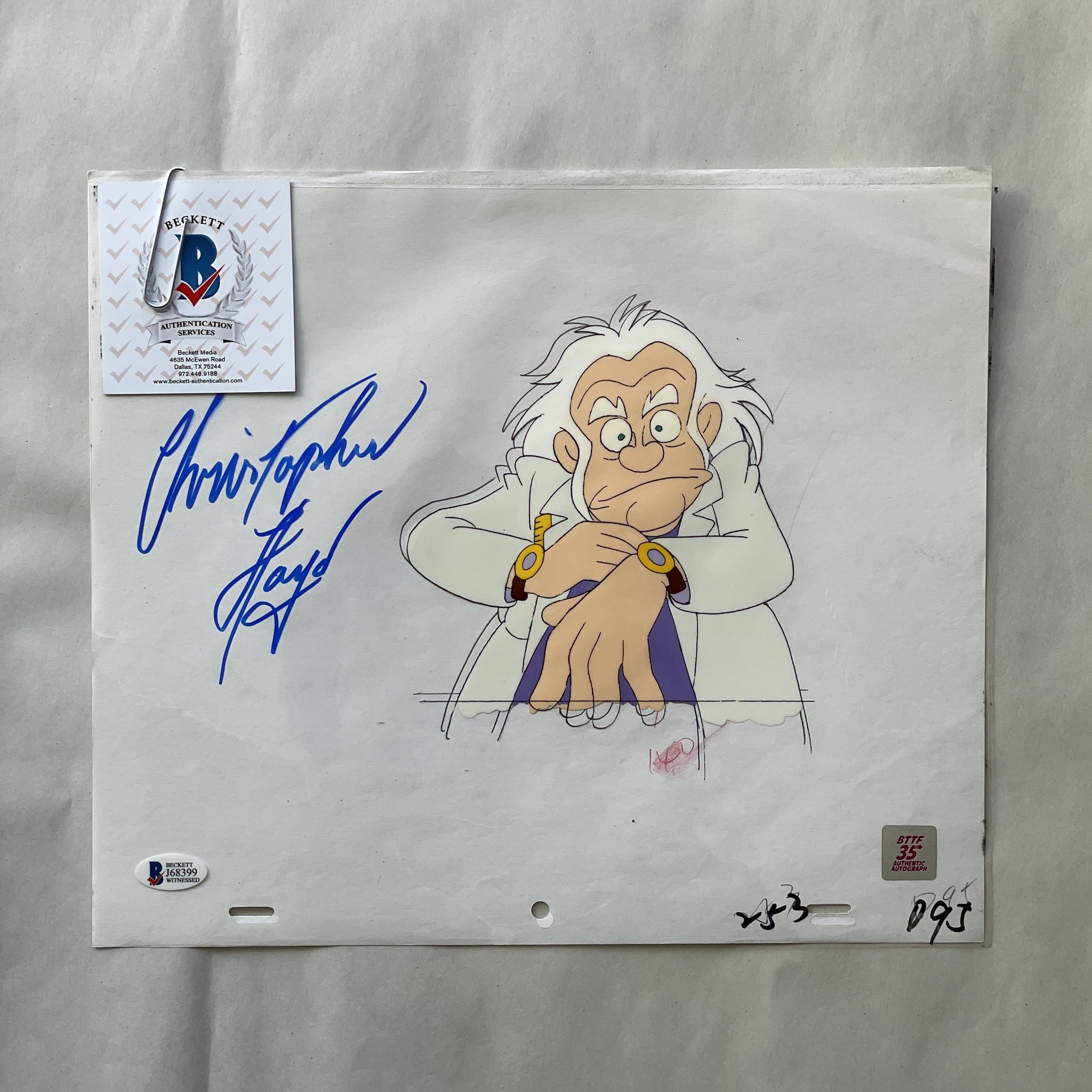 Doc Cel Signed by Christopher Lloyd 65 (EX0536) - Animation Legends