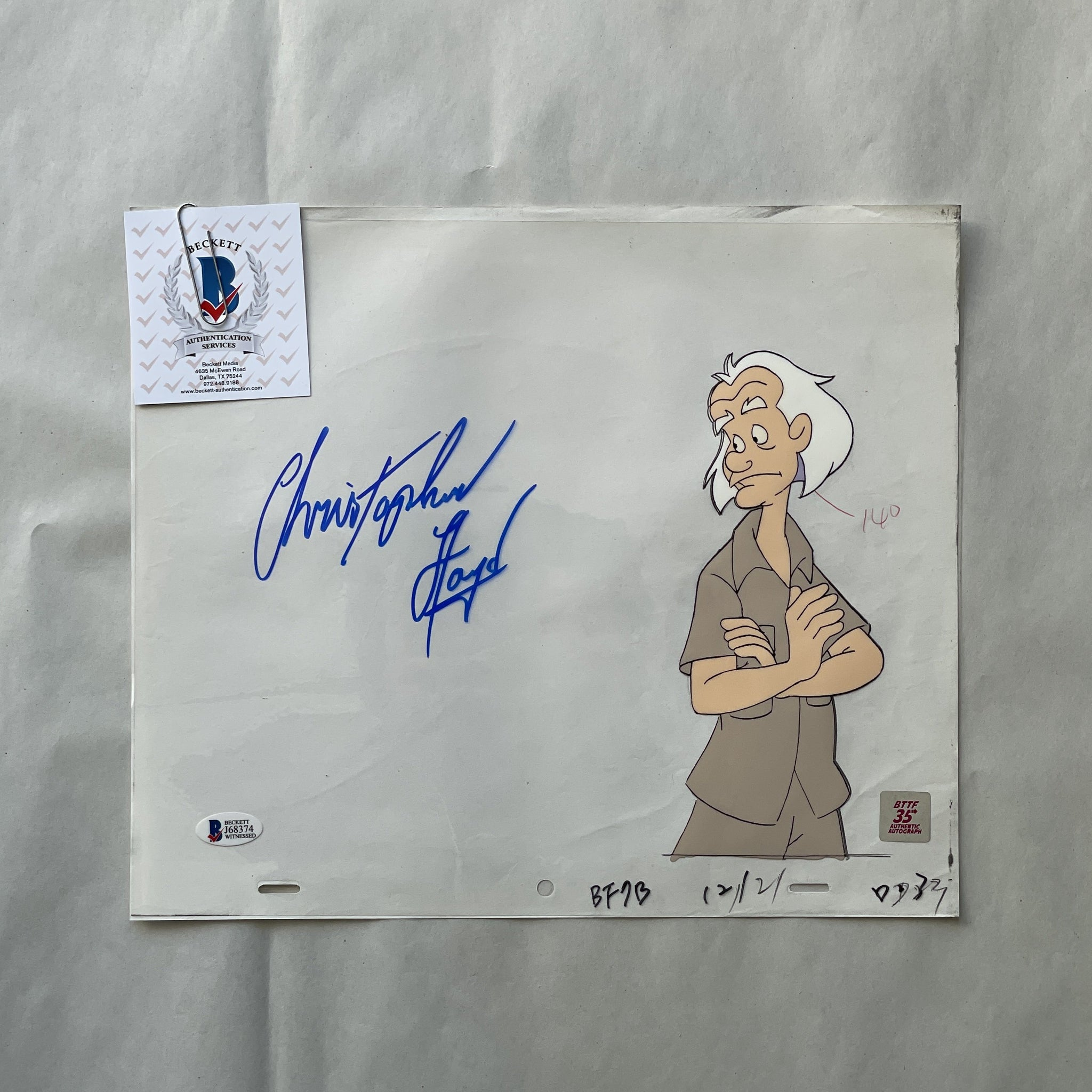 Doc Cel Signed by Christopher Lloyd 87 (EX0558) - Animation Legends