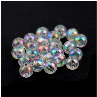 Purple 4mm 200 x AB Plated Glass Beads Round