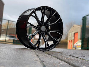 "20"" G30 Performance 669M style Black Machine Milled 5x112 Staggered Alloy Wheels Black Polished New BMW 5 6 7 8 Series"