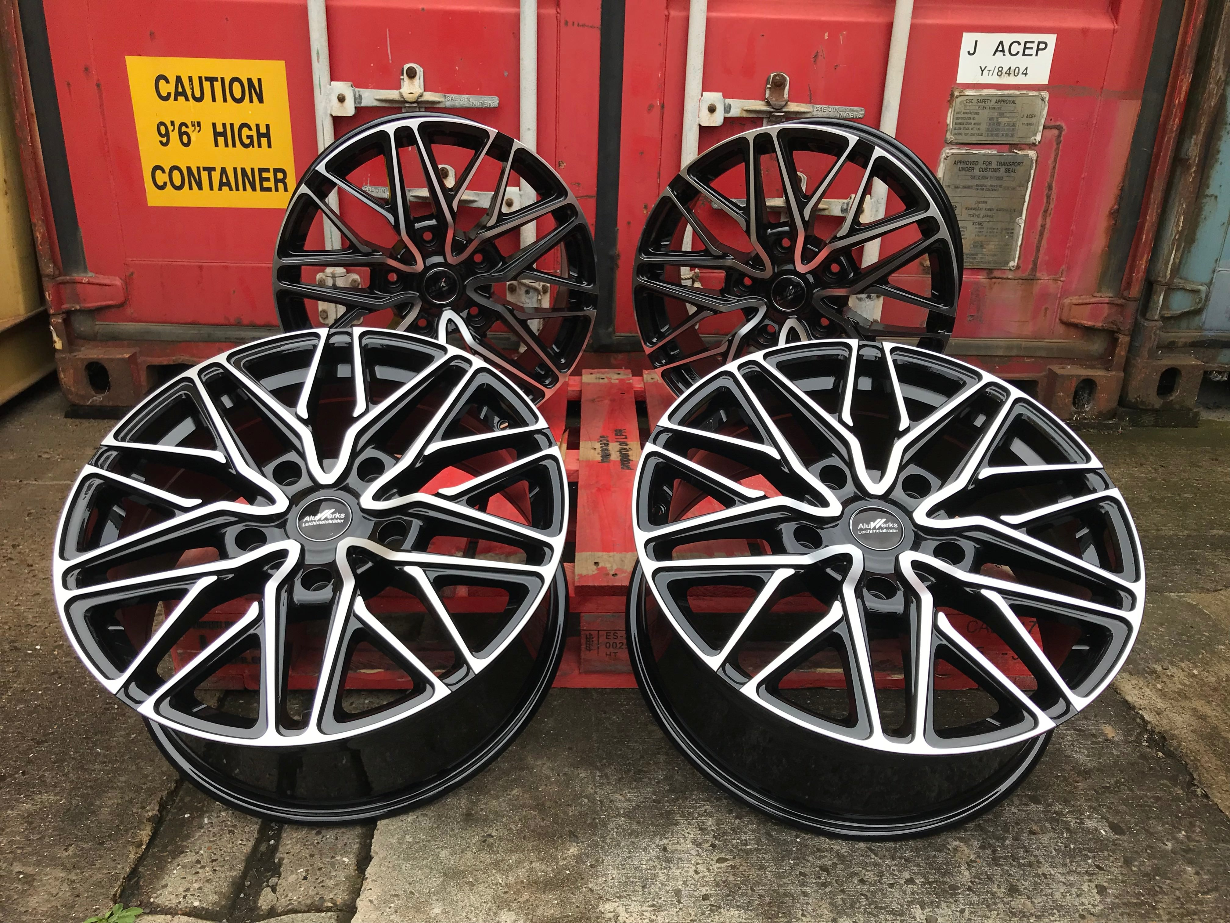 "20"" Aluwerks RTT Transit style wheels Black Polished 5x160 fits Transit Custom Van"
