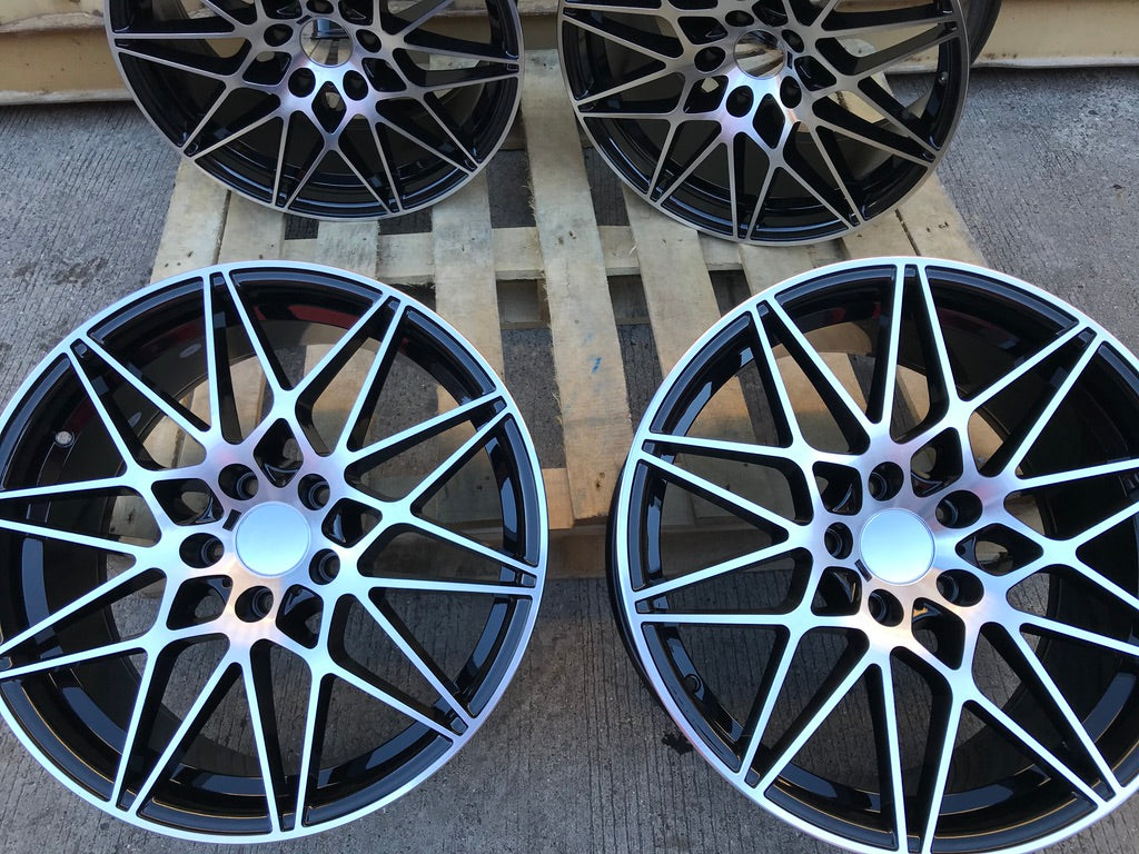 "19"" 666M Competition Style Staggered Alloy Wheels Black Polished BMW 3 4 5 Series"