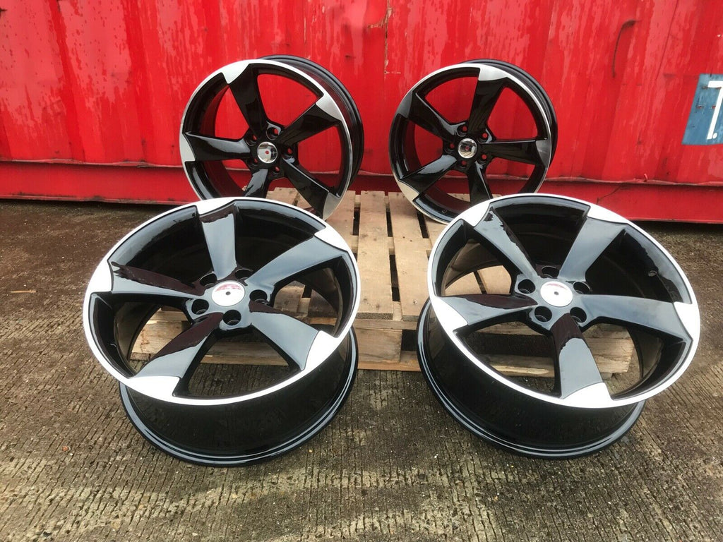 "19"" TTRS style wheels Black Polished 5x112 8J fits Audi A3"
