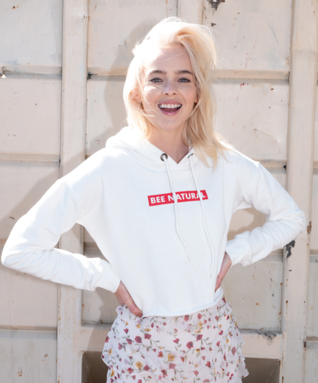 Bee Natural White Cropped Hoodie