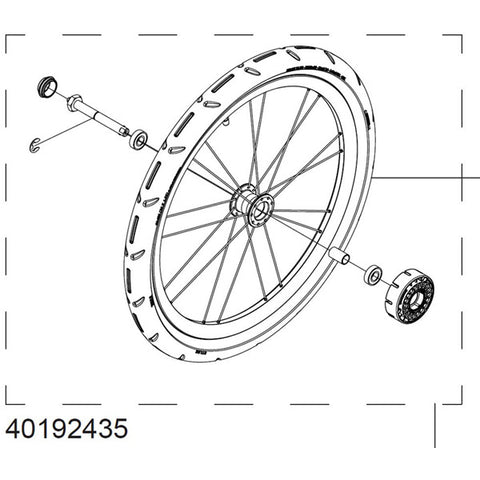 Thule Complete Wheel Assembly for Chariot Cross or Lite, Includes Tyre
