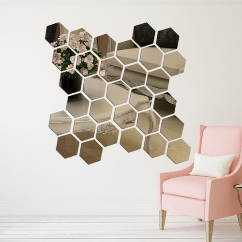 Hexagon Acrylic Mirror Wall Stickers