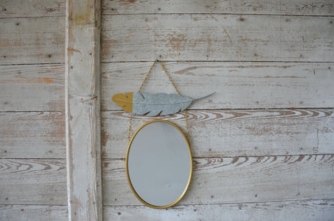 Hanging Feather Mirror