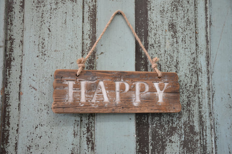 "Wooden ""Happy"" Sign"