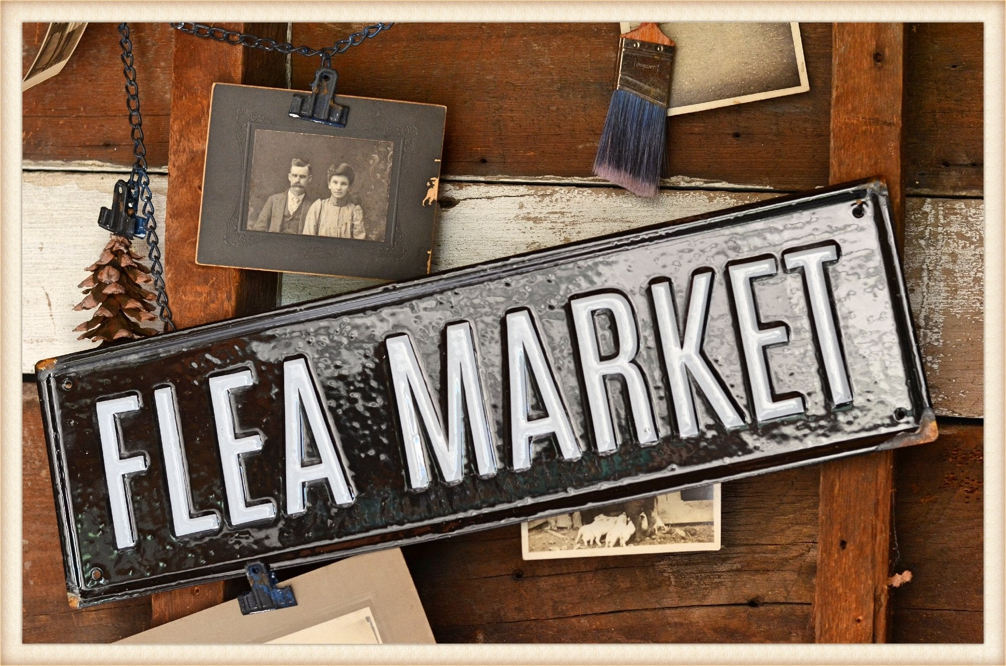 Real Enamel Flea Sign