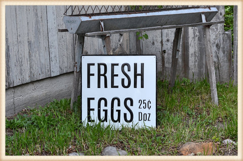 Huge Enamel Fresh Eggs Sign