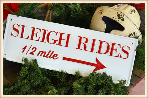 Enamel Sleigh Rides Sign - Seasonal-Holiday