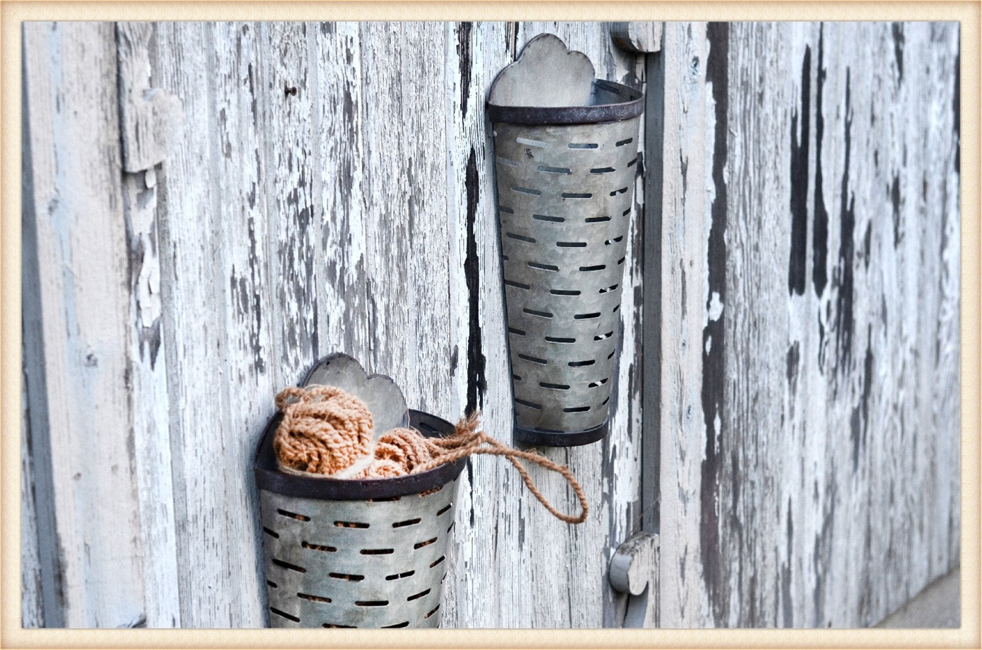Tall Olive Wall Buckets S/2