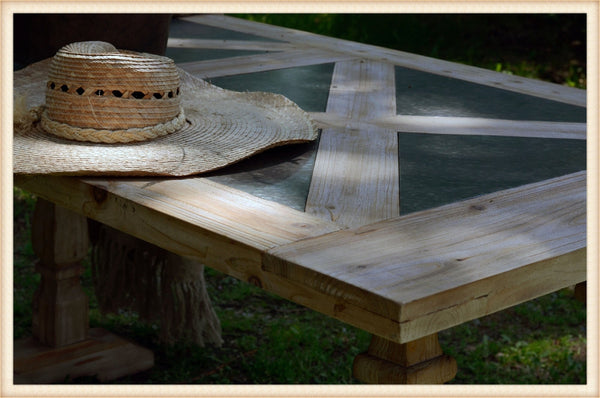 Pick Up Only-Wood/Tin Parquet Table*