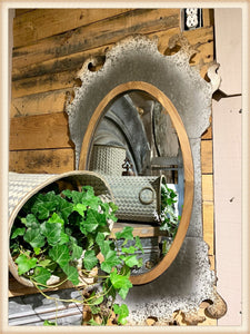 Tin and Wood Mirror