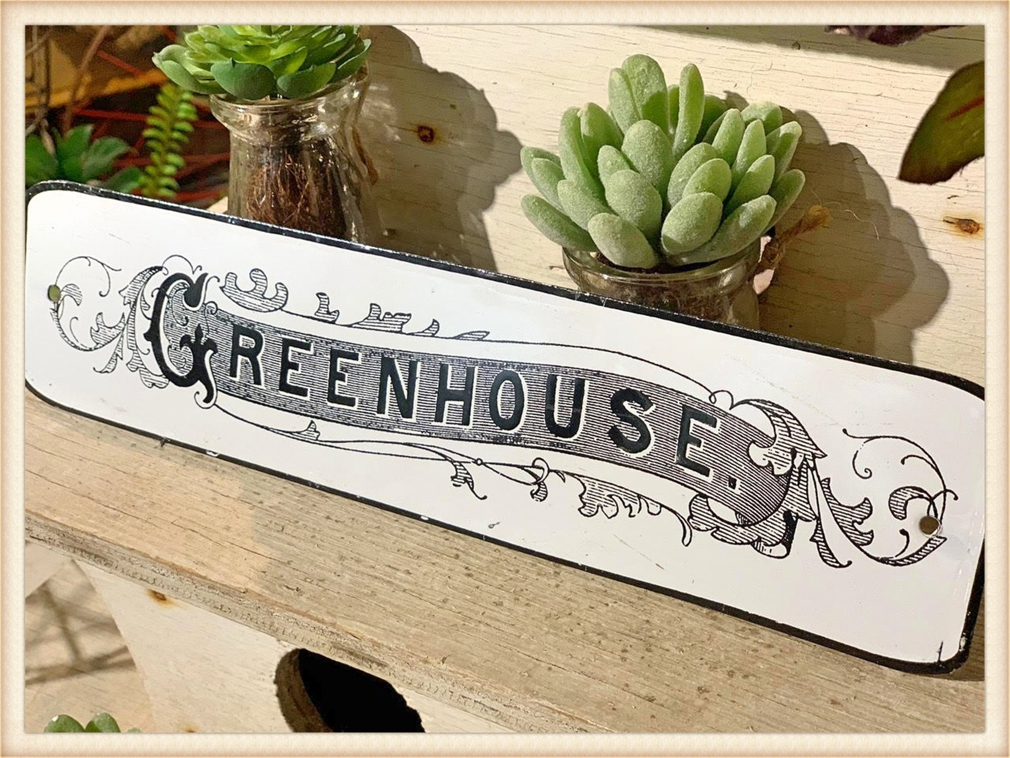 Greenhouse Enamel Sign