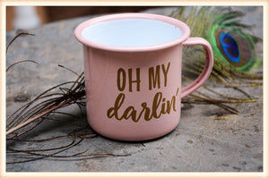Pink Enamel Darlin Cups-Set of 2
