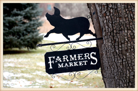 Farmers Market Pig Sign