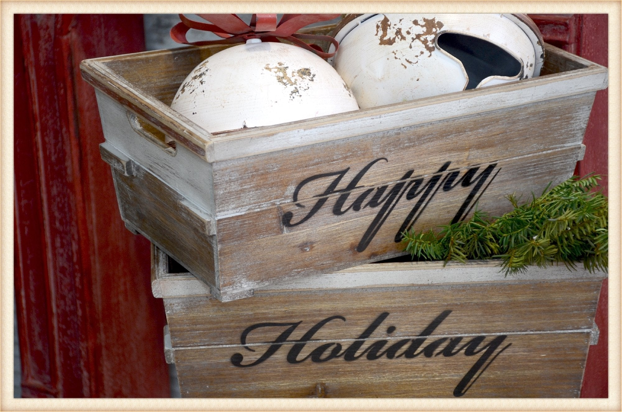 Happy Holiday Crate S/2 - Seasonal-Holiday