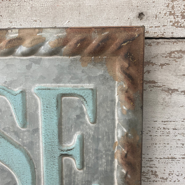 Pressed Metal Beach House Sign