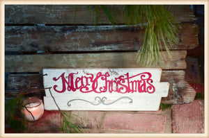Merry Christmas Wood Plaque - Seasonal-Holiday