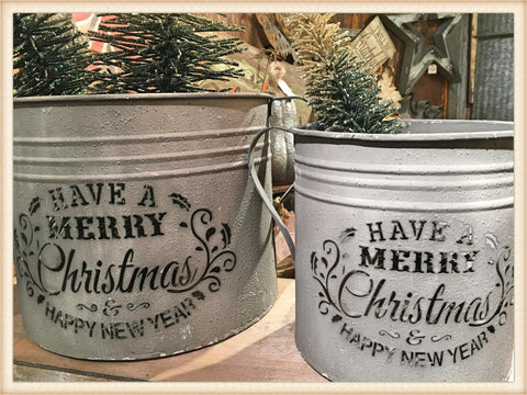 Christmas Handle Container S/2 - Seasonal-Holiday