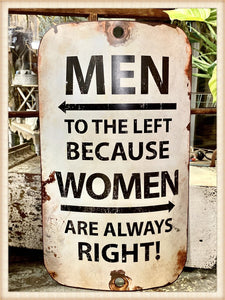 Men to the Left Curved Sign