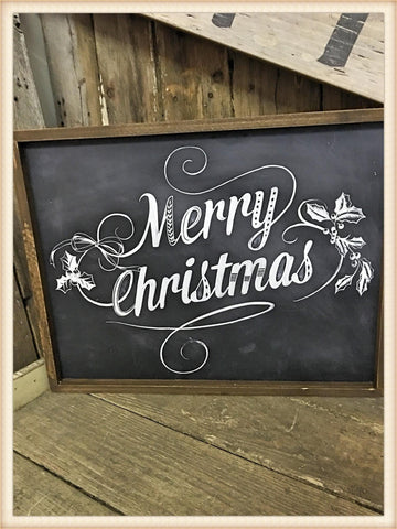Black/White Merry Christmas Sign - Seasonal-Holiday