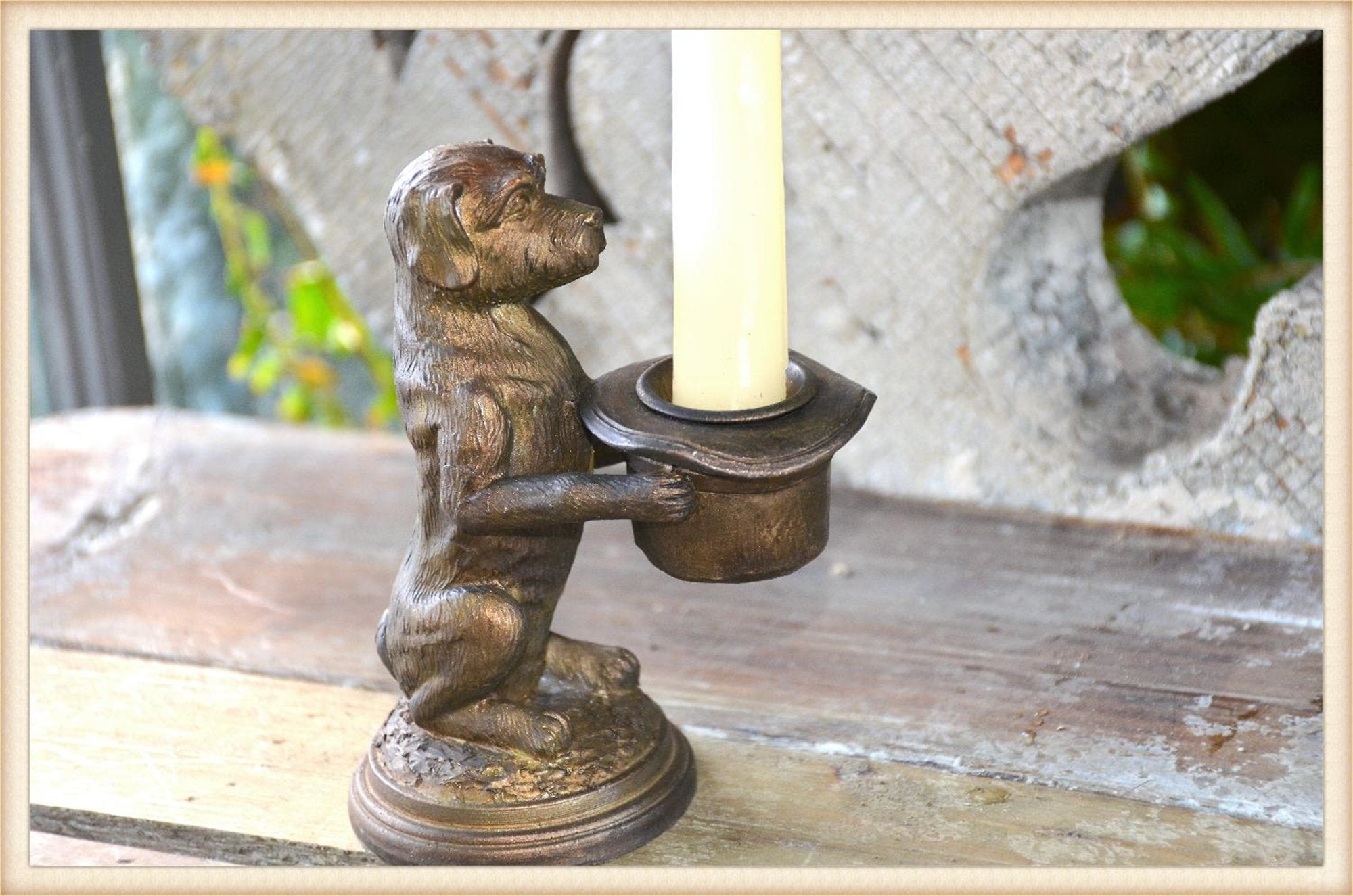 Top Hat Dog Candle Holder