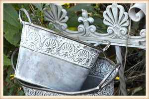 Embossed Banded Oval Planter S/2