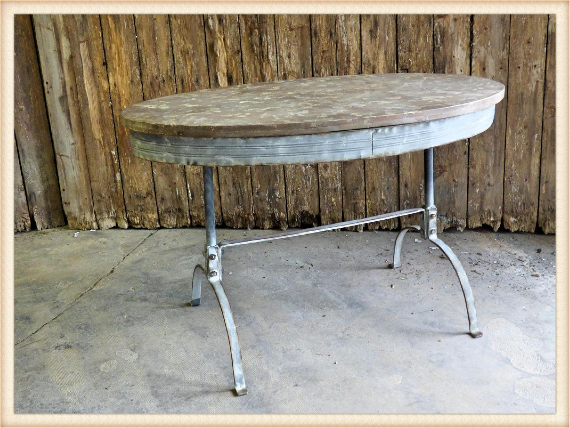 Pick Up Only-Oval Wood Top Work Table*
