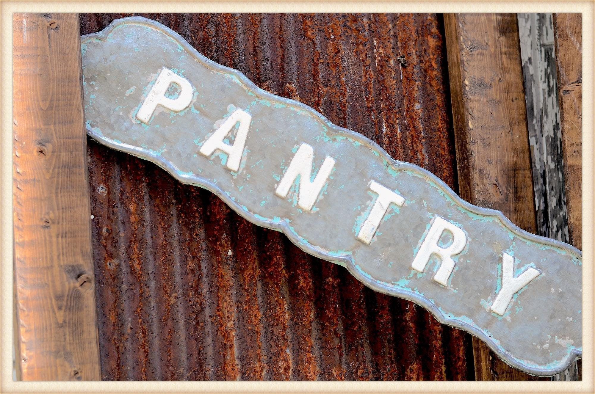 Scalloped Tin Pantry Sign