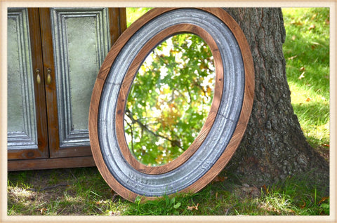 Wood and Tin Trim Oval Mirror