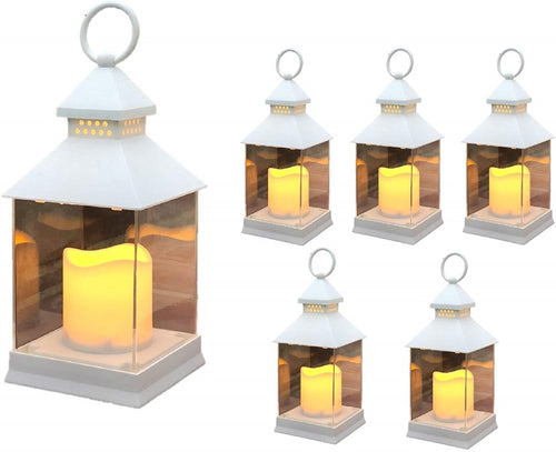 5HR Timer Weather Resistant THE NIFTY NOOK Farm House Lanterns {36 Pc Set} 10 Decorative Lanterns with Flameless LED Lighted Candle Decorative Outdoor Lanterns 36 Pack White