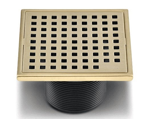 "Lagos Series. Mira point center drain, 4""x4"" GLD finish"