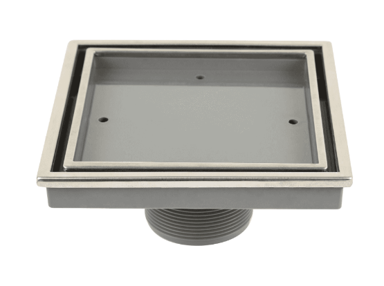Lagos Series. Veil (Tile-In) center drain, Satin finish