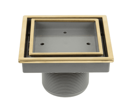 Lagos Series. Veil (Tile In)  center drain,4� x 4��GLD Finish