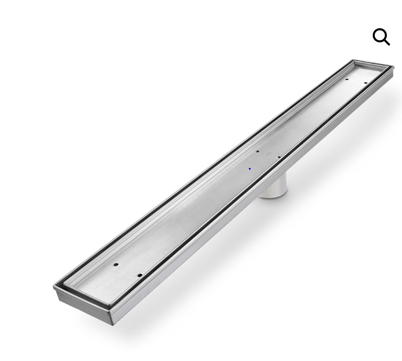 "Delmar Series. Mist linear drain 24"" x 3 3/8"". Satin Finish.."
